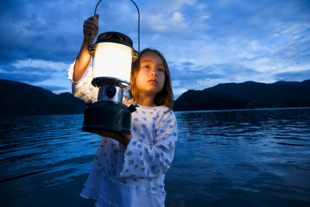 Girl with Latern by Lake